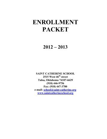 Enrollment Packet for 2012-2013 - Saint Catherine School