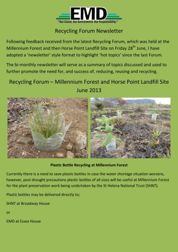 Recycling Forum Newsletter Recycling Forum – Millennium Forest and ...