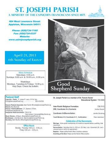 April 21, 2013 4th Sunday of Easter - St. Joseph Parish