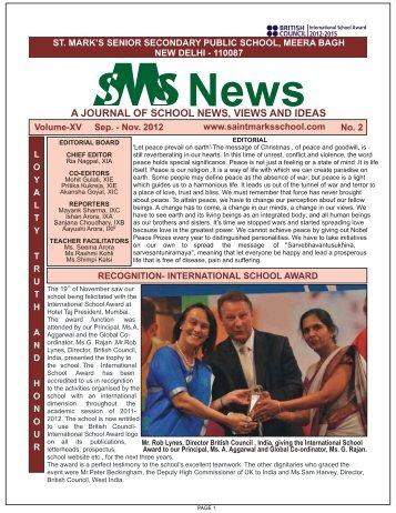 Sept-12-Nov'12 - Saint Mark's Sr. Sec. Public Schools