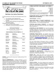 October 24, 2010 - Saint Mary of the Assumption Parish