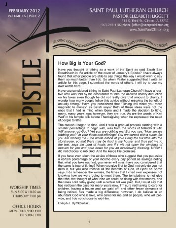 How Big Is Your God? - Saint Paul Lutheran Church