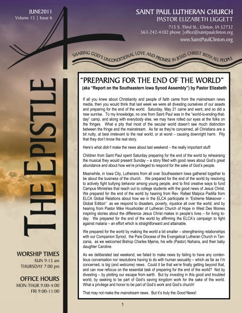 preparing for the end of the world - Saint Paul Lutheran Church