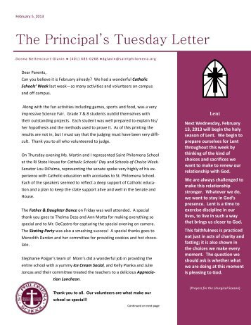 Tuesday Letter 2/5/13 - Saint Philomena School