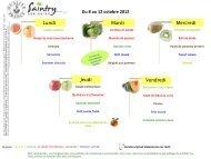 Lundi Mardi Mercredi Jeudi Vendredi Du 8 au 12 octobre 2012