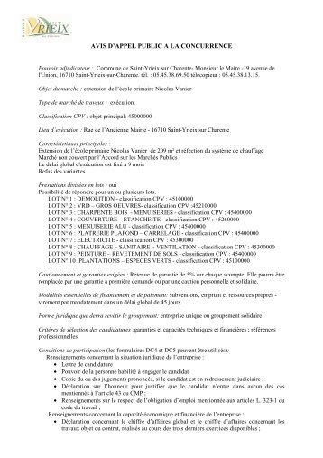 avis d'appel public a la concurrence - Saint-Yrieix sur Charente