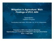 Mitigation in Agriculture: Main Findings of IPCC AR4