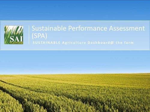 Sustainable Performance Assessment (SPA) - SAI Platform