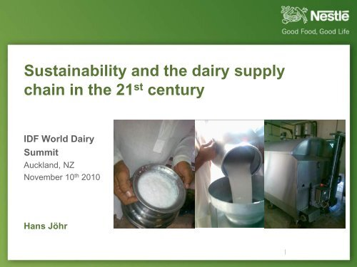 Sustainability and the dairy supply chain in the 21st ... - SAI Platform