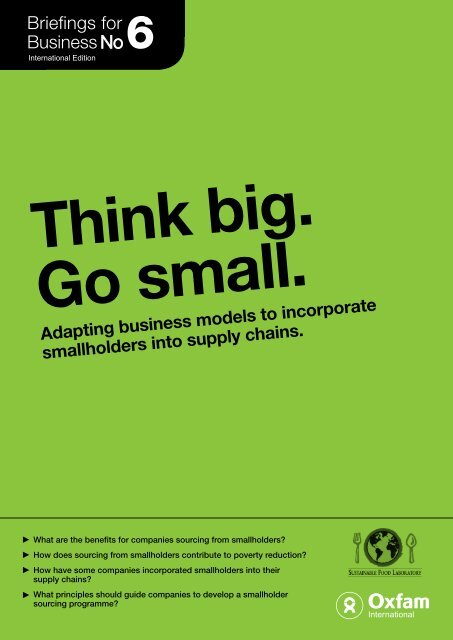 Adapting business models to incorporate smallholders into supply ...