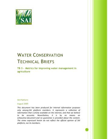 WATER CONSERVATION TECHNICAL BRIEFS - SAI Platform