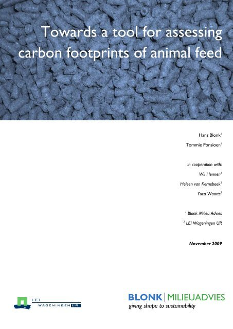 Towards a tool for assessing carbon footprints of animal feed