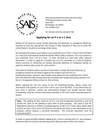 Applying for an F-‐1 or J-‐1 Visa - SAIS