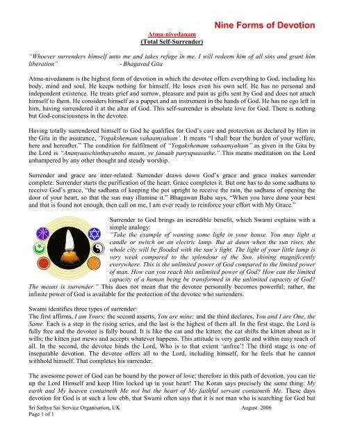 Nine Forms of Devotion - Sathya Sai Service Organisation Scotland