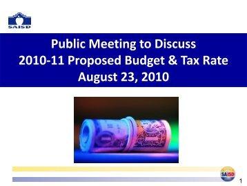 2010-11 Budget Presentation - San Antonio Independent School ...