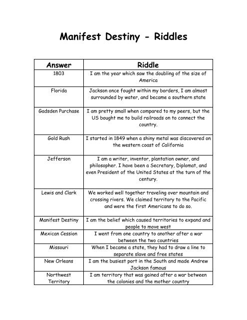Manifest Destiny - Riddles Answer Riddle
