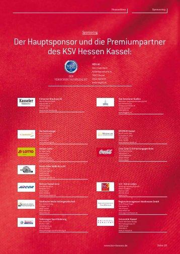 Der Hauptsponsor und die Premiumpartner des KSV Hessen Kassel: