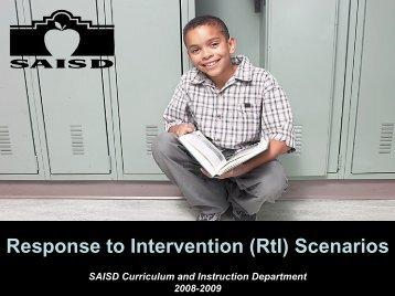 RtI Scenarios - San Antonio Independent School District