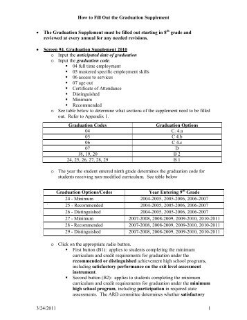 How to Fill Out the Graduation Supplement 3/24/2011 1 • The ...