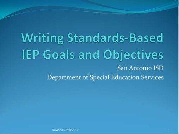 Standards Based IEP Goals - San Antonio Independent School District