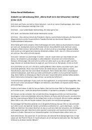 """Dekan Bernd Weißenborn Andacht zur Jahreslosung 2012: """"Meine ..."""