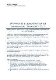 Överförande av hemsjukvården till kommunerna i Sörmland – 2012