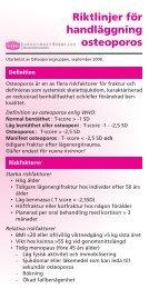 Riktlinjer för handläggning osteoporos - Landstinget Sörmland