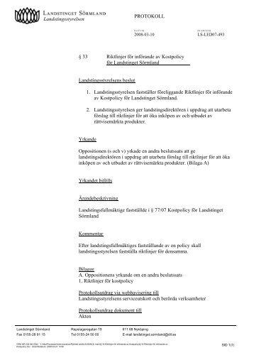 33 Riktlinjer för införande av Kostpolicy - Landstinget Sörmland