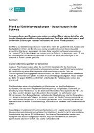 Summary Studie Swiss Recycling – Auswirkungen Pfand