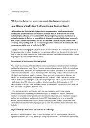 Communiqué de presse du 22.05.2006 - Verein PRS PET-Recycling ...