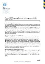 Medienmitteilung vom 01.04.2005 - PET-Recycling Schweiz