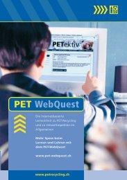 Broschüre «PET-WebQuest - PET-Recycling Schweiz