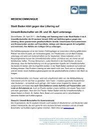 Stadt Baden klärt gegen das Littering auf - Verein PRS PET ...