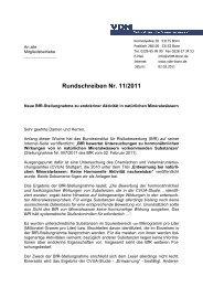 Rundschreiben Verband Deutscher Mineralbrunnen