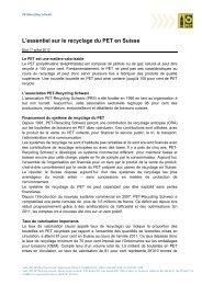 L'essentiel sur le recyclage du PET en Suisse - Presseportal.ch