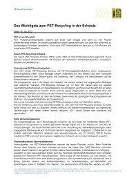 Zahlen/Fakten zum Wertstoff PET, PET-Recycling und zur ...