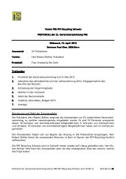 Protokoll GV 2013 - PET-Recycling Schweiz