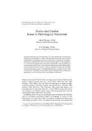 Shame and Gender Issues in Pathological Narcissism