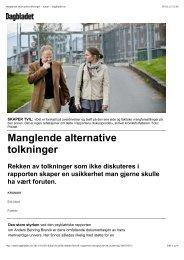 Manglende alternative tolkninger - kultur - Dagbladet.no
