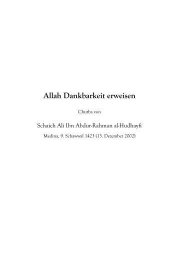 Allah Dankbarkeit erweisen - Salaf.de