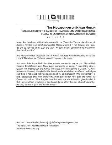 Introduction of Saheeh Muslim - Salafi Publications.com