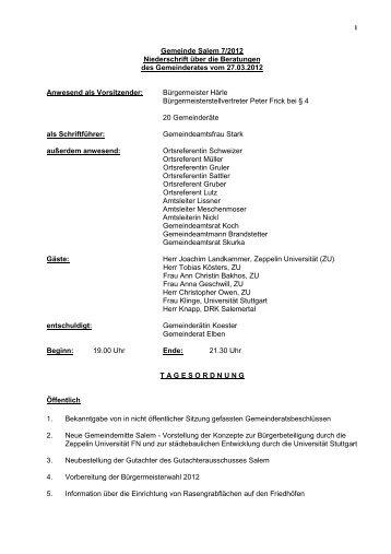 Protokoll - Gemeinde Salem