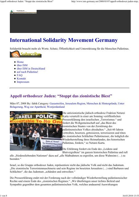 International Solidarity Movement Germany