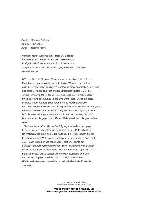 Weltgerichtshof wird Realität - Salfena.net