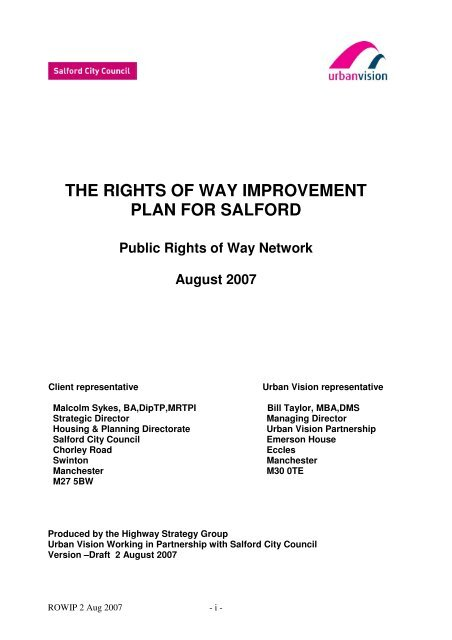 The Rights Of Way Improvement Plan For Salford Salford City Council