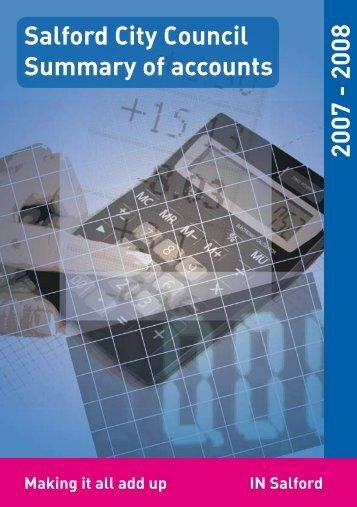 Salford City Council Summary of accounts 2007 - 2008