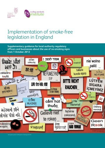 Supplementary guidance on the use of no smoking signs from 1 ...