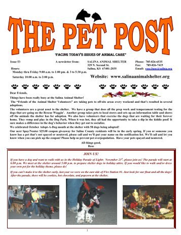 Pet Post Issue 53 - Salina Animal Shelter