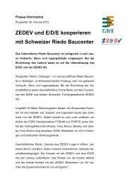 ZEDEV und E/D/E kooperieren mit Schweizer Riedo Baucenter