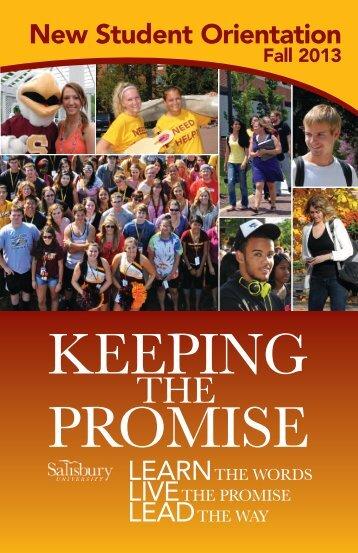 New Student Orientation Brochure Fall 2013 - Salisbury University